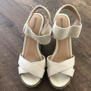 Cream espadrilles wedge